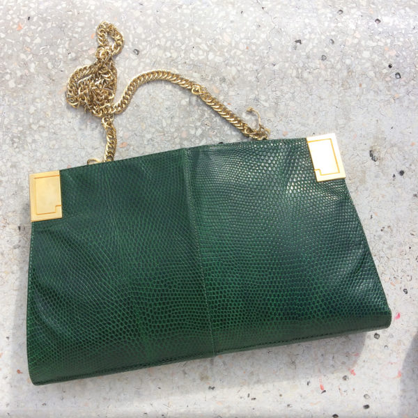 Ricottine Vintage Shop - Borsa vintage in pelle stampata effetto pitone verde